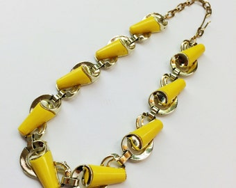 1960s Yellow and Gold Necklace- Thermoset, Mad Men, Retro Jewelry