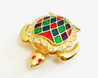 BALENCIAGA Turtle Brooch- Multicolor, Colorblock, Paris, Goldtone, Animal Jewelry