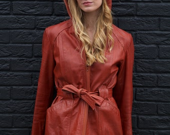 Boho Betty, Vintage, Tan Leather Belted Jacket with Hood