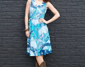 Aqua Dream, French Vintage, 1970s Blue Pucci Style Floral Midi Dress, from Paris