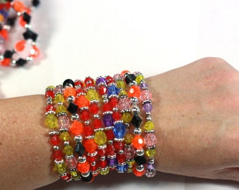 15 Hand Beaded Stacking Stretch Bracelets in assorted colors - Handmade by Me - Party Favor Supplies