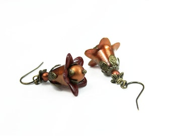 Rust & Copper Hand Dyed Lucite Flower Earrings, Vintage Style, Antiqued Brass, Czech Glass
