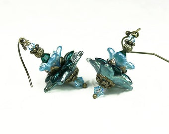 Hand Dyed Light Blue and Green Lucite Flower Earrings, Swarovski Crystals, Antiqued Brass, Gifts for Her