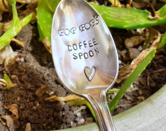 Grandpa's COFFEE SPOON Stamped Spoon Personalized Spoon Vintage Silver Flatware For Dads