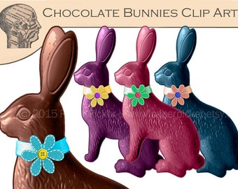 Chocolate Bunnies Clip Art Graphics Easter Bunny Clipart Easter Digital Art Easter Instant Download Commercial Use Printable Art