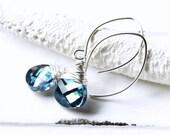 Blue Swarovski Crystal Earrings, Wire Wrapped Earrings, Aqua Blue Flat Pear Teardrops, Tropical Ocean, Sterling Silver