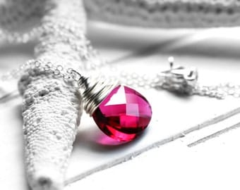 CLEARANCE / SALE - Red Swarovski Crystal Necklace, Ruby Crystal Sterling Silver Wire Wrapped Flat Pear Teardrop, Sterling Silver Cable Chain
