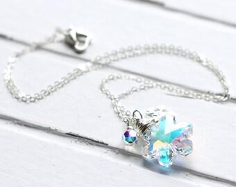 AB Crystal Snowflake Necklace, Swarovski Crystal Pendant, Clear Aurora Borealis, Sterling Silver Snowflake Charm, Christmas Jewelry, Frozen