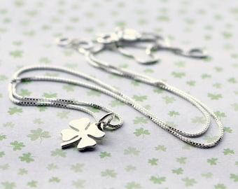 Tiny Four Leaf Clover Charm Necklace, Sterling Silver Shamrock Charm, St. Patricks Day, Irish, Lucky, Shamrock Necklace