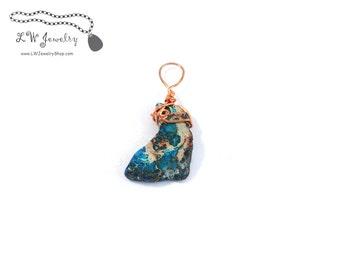 Blue, Impression Jasper,  Copper,  Pendant, Wire Wrapped pendant, Copper, wire pendant, wire wrap, wire wrapping,  necklace