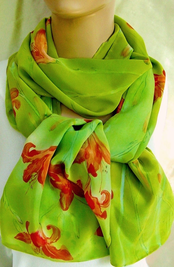 silk scarf Large Day Lily flowers hand painted long luxury crepe chartreuse orange wearable art unique