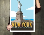 NEW YORK Travel Poster, Personalized Print, Statue of Liberty Illustration, New York City Art, Retro Poster. 20 x 30