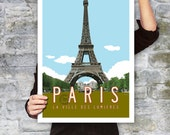 PARIS Travel Poster, Paris Art, Eiffel Tower Illustration, Personalized Typography Print, French Wall Art, Retro Poster. 20 x 30