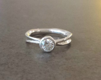 Moissanite Engagement Ring in Recycled Silver - Rustic Engagement Ring - Diamond Alternative