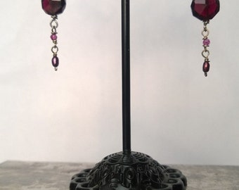 Sterling Silver Earrings with Garnet, Swarovski Crystals and Freshwater Pearls
