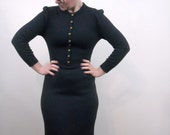 SALE Vintage Oscar de la Renta Dress // 1970s Designer Dress // Navy Blue Dress // Couture Dress // Office Fashion // Medium Large