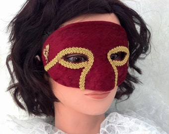 Red and Gold Domino Mask with Angel Accents