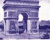 1890s photogravure of L'Arc de Triomphe in Paris, vintage Paris print