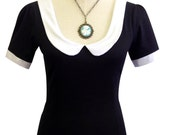 Black Katy Top with Peter Pan collar