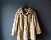 SALE 50% OFF!!!! Vintage faux fur jacket by TISSAVEL, beige, eco friendly, warm and fuzzy, made in France, size M