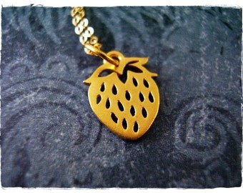 Gold Strawberry Necklace - Matte 24kt Gold Plate Strawberry Charm on a Delicate 14kt Gold Filled Cable Chain or Charm Only