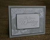 Wedding Congratulations card - wedding gift, wedding congratulations card, wedding shower, bride and groom, romantic, flowers, pearls