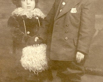 Older Brother Holds LITTLE SISTER'S HAND In Tender Photo Postcard Circa 1910