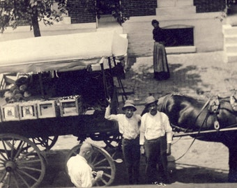 HORSE DRAWN WAGON Bringing The Market To Your Front Door Photo Postcard Circa 1910