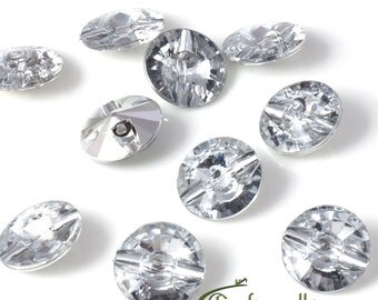 Acrylic rhinestone buttons - crystal - set of 100 buttons - A016-24L-01