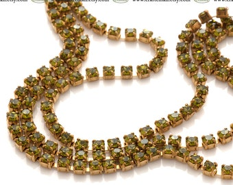 Preciosa crystal cup chain Olivine 2mm ss65 - one meter