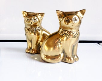 Pair of Vintage Brass Cats / Cat Figurines