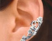 Long Poppy ear cuff Sterling Silver earrings Poppy jewelry Poppy earrings Sterling silver ear cuff Small clip non pierced earcuff C-110