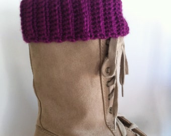 Lacy Boot Toppers - Leg Warmers -Ribbed Boot Cuffs - Reversible - Plum - Ready To Ship