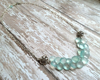 "Aqua Chalcedony Bib Necklace--16"" on Sterling Silver Chain"