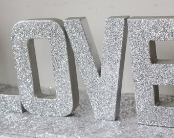 Love Glitter Silver Sign Letters Free Standing Glittered Wedding Sparkle Sign Bling Valentine Decor Letter Love