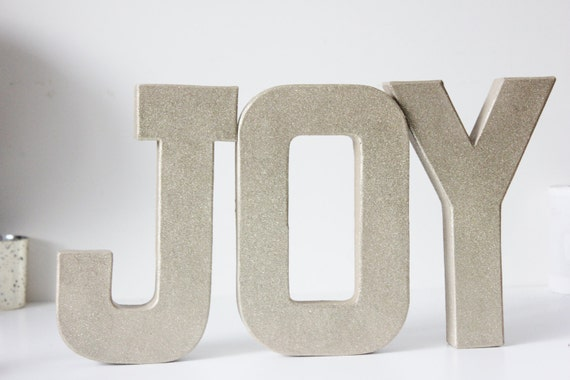 Glitter joy letters word art christmas gold silver custom for Silver letters freestanding