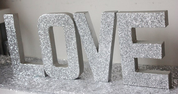 Love glitter silver sign letters free standing glittered for Silver letters freestanding