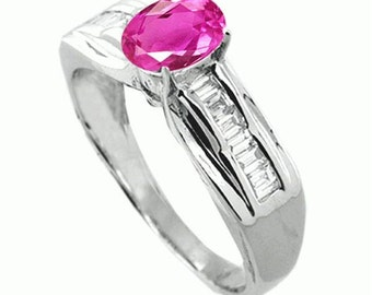 pink sapphire ring  diamond  18k white gold