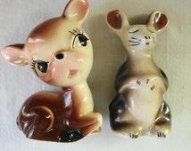 VINTAGE  Baby Deer And Mouse FIGURINES Salt Pepper Shakers Super Cute Big Eyes Baby Deer And Big Ears Mouse Salt Pepper Shakers Mid Century