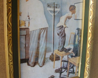 VINTAGE FRAMED Art Norman Rockwell Before The Shot / A Study For the Doctors Office 1958  Gold Wood Carved Framed The Saturday Evening Post