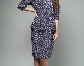 "vintage 80s peplum dress navy pink short sleeves M (28"" waist) - Medium"