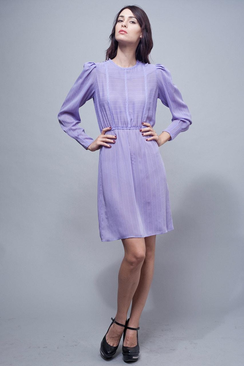 vintage 70s secretary dress sheer purple stripes long sleeves