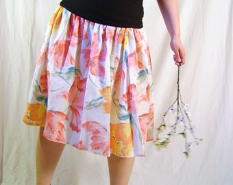 Pleated floral skirt, sheer, printed in white flower, pink, orange-yellow Recycled - Middle, romantic, knees, bohemian, ecofriendly
