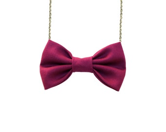 Plum Bow Tie Necklace, Purple Bow Pendant, Girls and Women Accessory