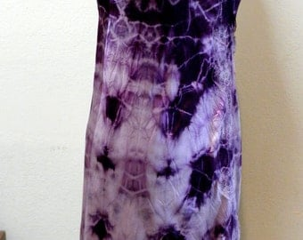 Slip Dress - Upcycled Vintage Shibori Dyed in Purples and Wines One of a Kind Art Clothing Bridal Boho Evening Valentine Gift for Her