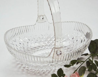 Pressed Glass Oval Basket Diamond Pattern with Folding Lucite Handle Shelf Sitter Flower Basket
