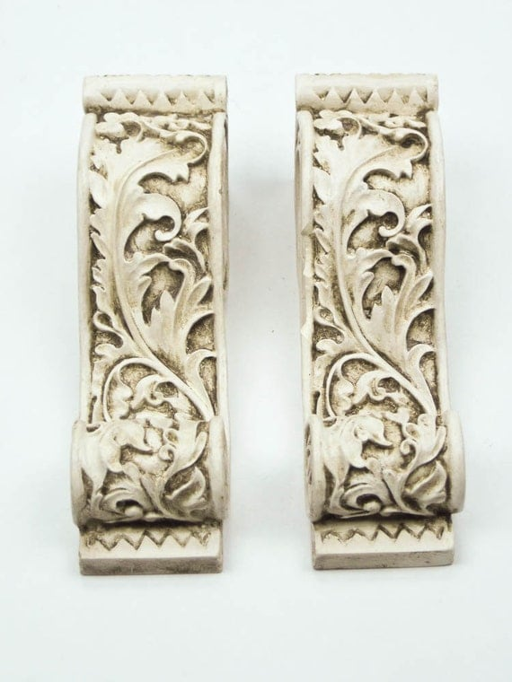 Drapery Curtain Rod Sconce Scarf Holders Aged White Set Of 2