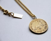 Aries - Necklace - Constellation - Zodiac - Charm - Necklace - Vintage - Coin - Humor - Astrology - Jewelry - Mature