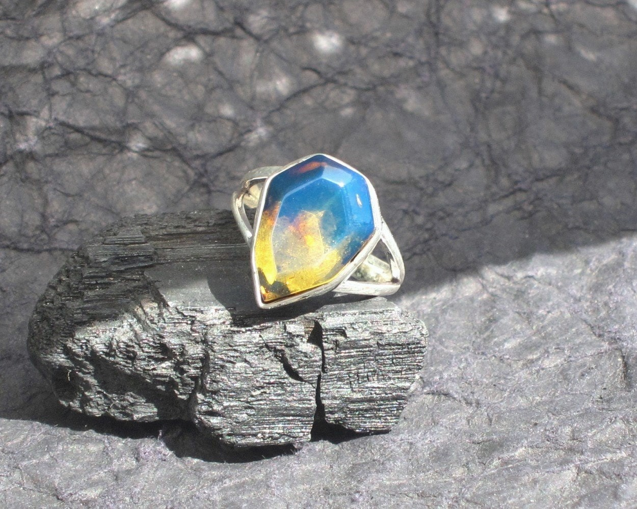 Blue Amber Ring Night Fires Yellow Blue Dominican Amber