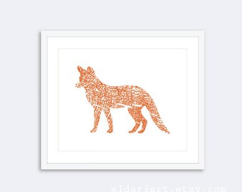 Fox Art Print - Wood Grain Fox- Woodland Rustic Modern Wall Art - Pumpkin Orange